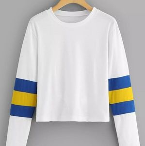 White, Blue & Yellow Colorblock Long Sleeve Tee